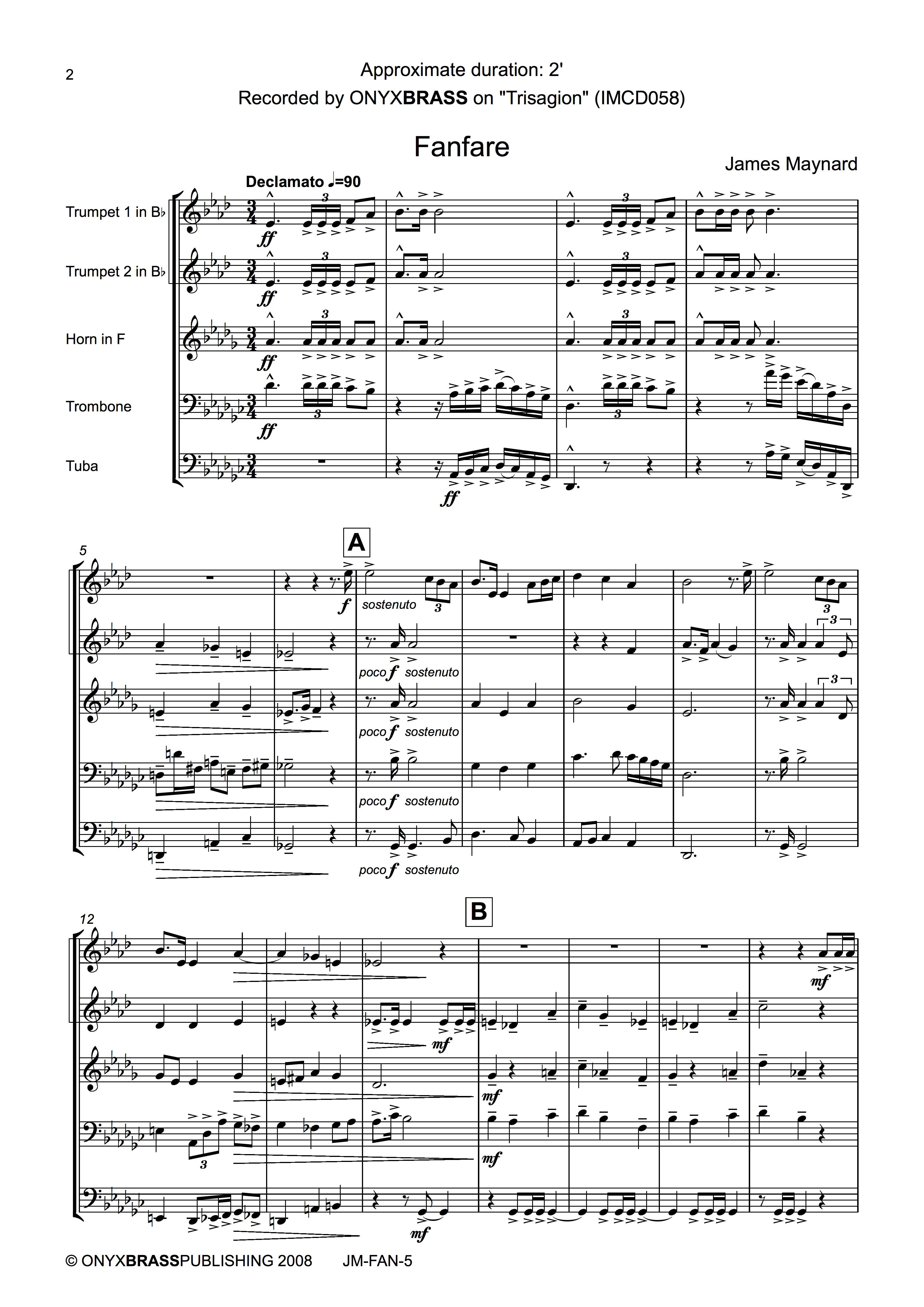 Maynard Fanfare - example page